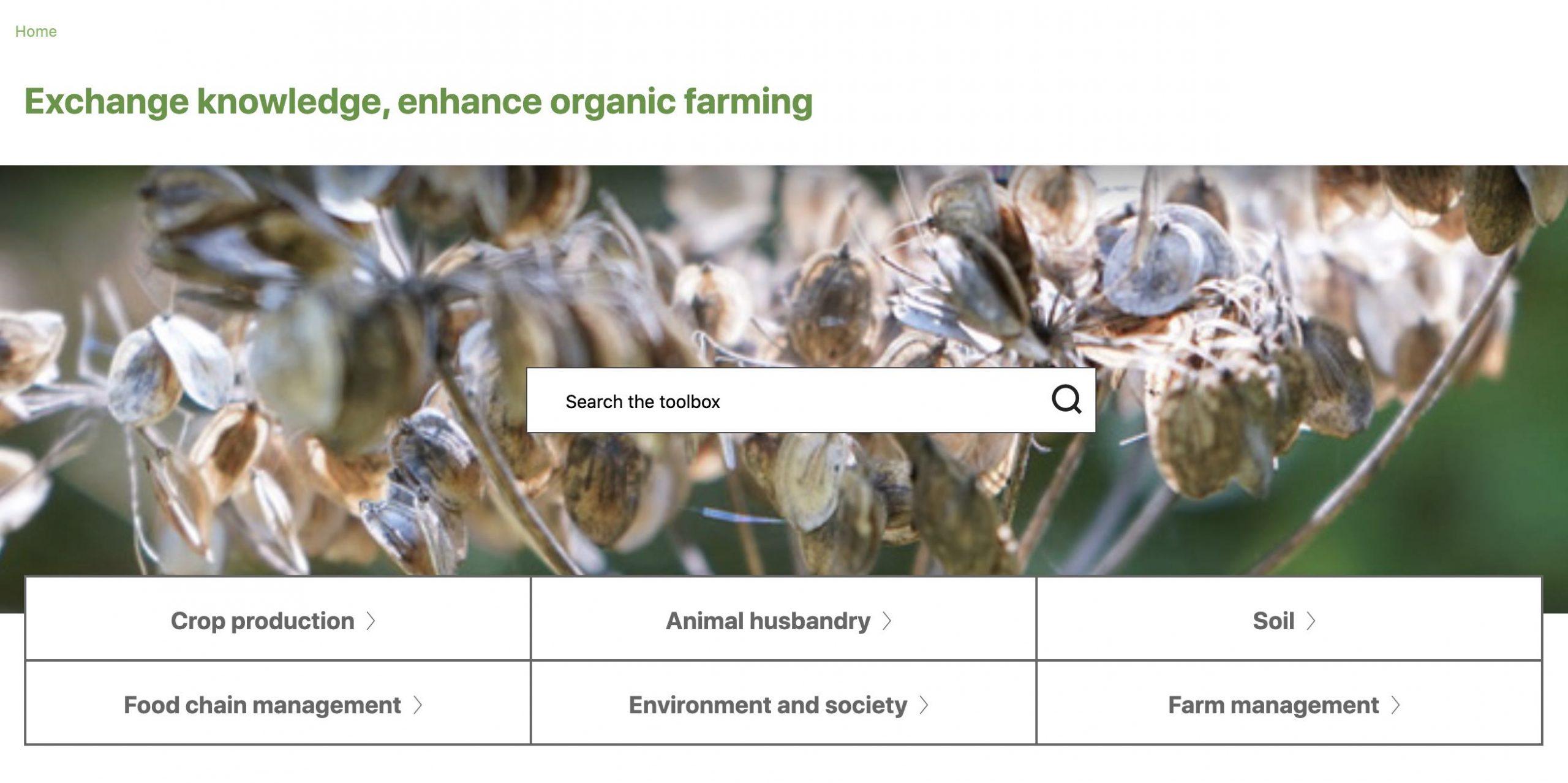 Homepage Organic Farm Knowledge platform, search bar, six main themes